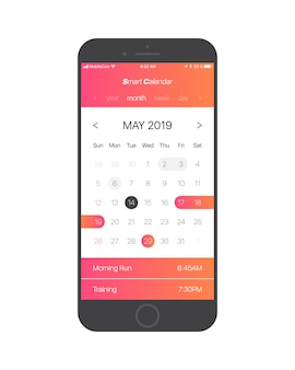 Smart calendar app ui concept vector