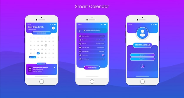 Smart calendar app ui/ux design