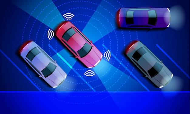 스마트 카는 주차장에 자동 주차됩니다. 주차 지원 시스템 보안이 도로를 스캔합니다.