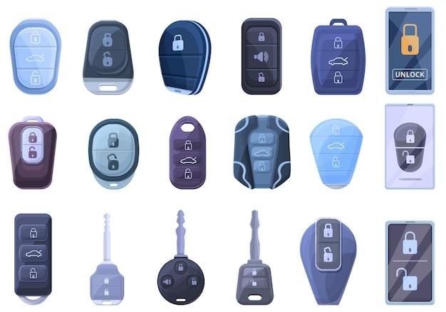 Набор иконок смарт-ключа автомобиля. мультфильм набор иконок смарт-ключ от машины