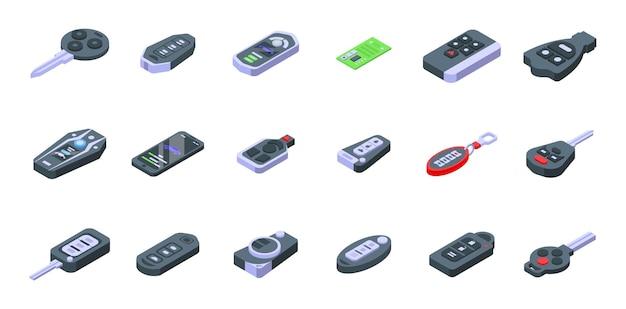 스마트 자동차 키 아이콘을 설정합니다. 흰색 배경에 고립 된 웹 디자인을 위한 스마트 자동차 키 벡터 아이콘의 아이소메트릭 세트