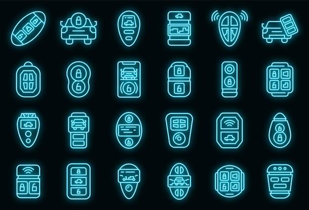스마트 자동차 키 아이콘을 설정합니다. 블랙에 스마트 자동차 키 벡터 아이콘 네온 색상의 개요 세트