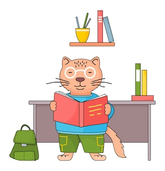 그의 손에 책이 든 안경에 똑똑한 고양이가 수업에서 읽고 있습니다.