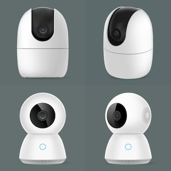 Smart cctv security camera group isolated