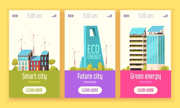 Smart city 3 flat vertical web banners with green energy wind and solar power systems