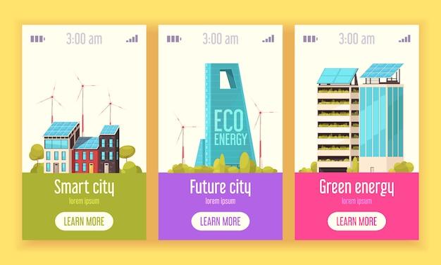 Smart city 3 banner web verticali piatti con energia eolica verde e sistemi di energia solare