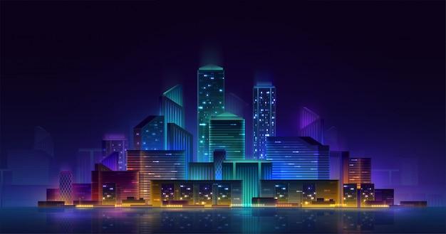 スマートシティ3dネオン輝く街並み。インテリジェントなビルディングオートメーションの夜の未来的なビジネスコンセプト。 webオンラインの鮮やかな色のサイバーパンクレトロウェーブ。