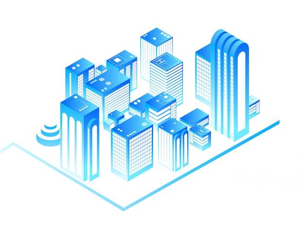 スマートシティ。住宅等尺性建物と3 dの都市地図。