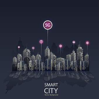 Smart city 5g icon background