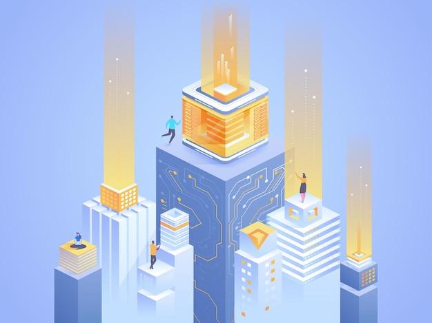 스마트 시티 추상 아이소메트릭 그림입니다. 사이버 공간 3d 만화 캐릭터에서 일하는 분석가. 미래 기술, 서버 팜 밝은 파란색 개념. 가상 데이터베이스, 디지털 네트워크 은유 프리미엄 벡터