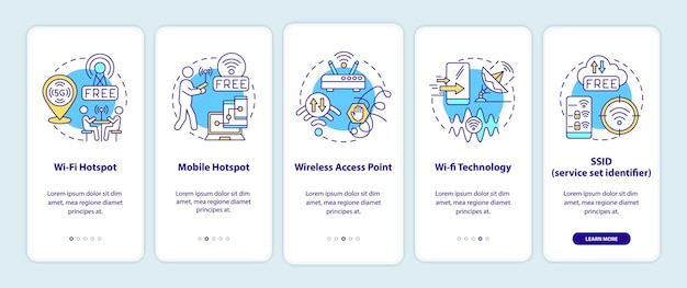Smart city access to internet options onboarding mobile app page screen. walkthrough 5 steps graphic instructions with concepts. ui, ux, gui vector template with linear color illustrations