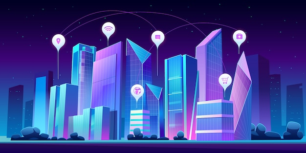 밤에 스마트 도시와 infographic 아이콘