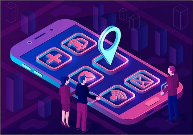 スマートシティアプリのアイソメトリックアーキテクチャの概念。アプリケーションアイコン付きのwebバナー。ピンポイントの未来的な3d都市スマートフォンアプリマップ。モノのインターネット。孤立