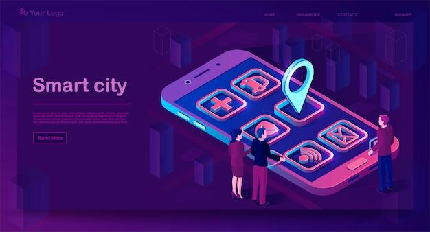 Smart city app isometric banner