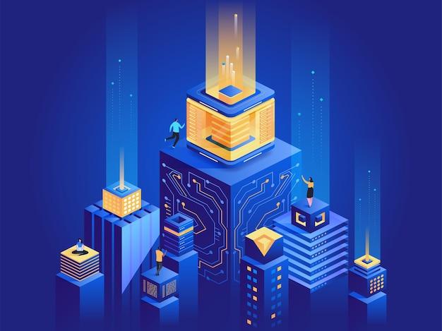 스마트 도시 건축 아이소메트릭 그림입니다. 남성과 여성은 사이버 공간 3d 만화 캐릭터에서 일합니다. 미래 기술, 서버 팜 진한 파란색 개념입니다. 디지털 네트워크, 가상 데이터베이스 은유