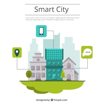 Smart city background in flat design with houses