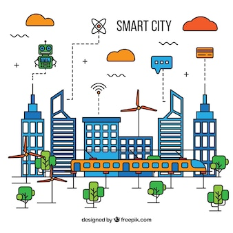 Smart city background of linear style