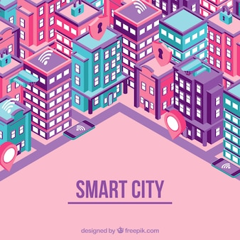 Smart city background with skyscrapers in isometric style