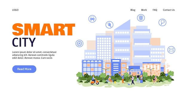 Smart city banner template with skyline view on town flat vector illustration