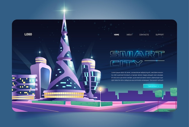 Smart city cartoon landing page futuristic glass buildings of unusual shapes along empty road at night