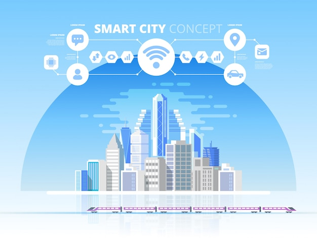 Smart city. cityscape background with different icons and elements. design concept with icons
