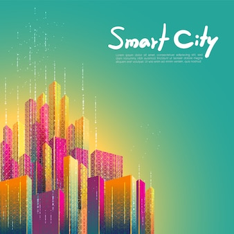 Smart city, communication, network, connection. futuristic colorful design background