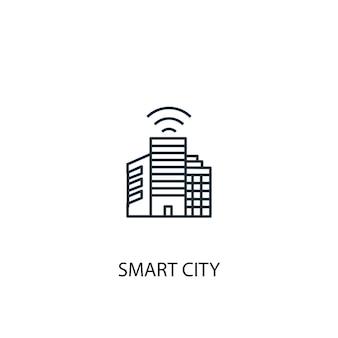 Значок линии концепции умный город. простая иллюстрация элемента. умный город концепции наброски символ дизайн. может использоваться для веб- и мобильных ui / ux