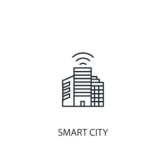 Smart city concept line icon. simple element illustration. smart city concept outline symbol design. can be used for web and mobile ui/ux