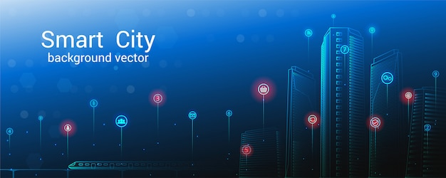 スマートシティのコンセプト。空の背景。未来都市またはスマートシティのコンセプト。