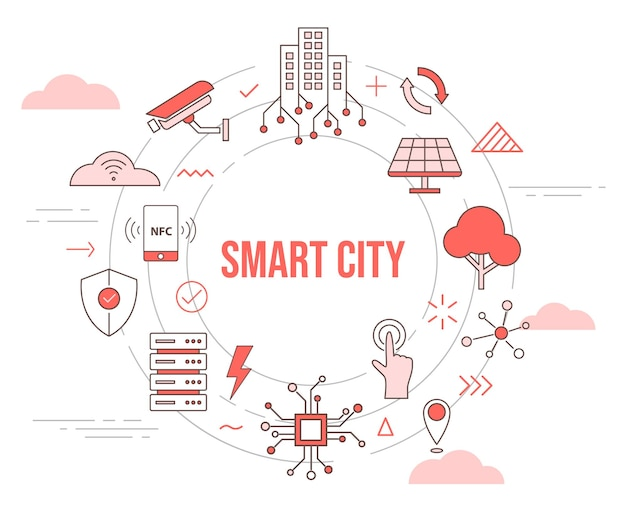 Smart city concept skyline building solar panel tree camera smartphone connection server city concept with icon set template with circle round shape