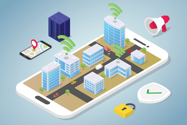 Smart city concept with big buildings and team people vehicle connected using internet wifi technology with modern flat isometric style