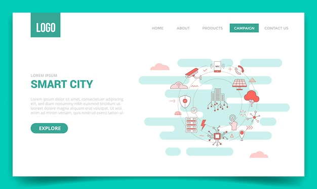 Smart city concept with circle icon for website template or landing page, homepage outline style