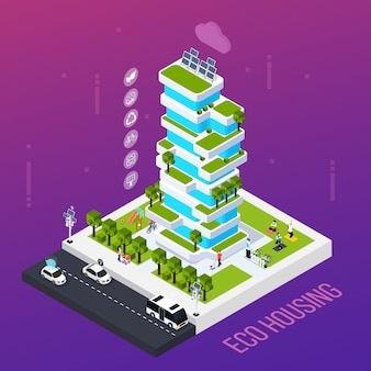 Smart city concept with eco housing technology , isometric vector illustration