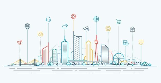 スマートシティ接続の概念。細い線のアイコンを統合した未来のテクノロジーランドスケープ。将来の都市のパノラマの概要を説明します。抽象的なベクトルの町。高層ビル、オフィスビル、住宅ビルのある都会のスカイライン