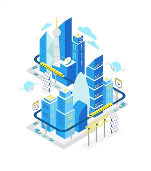 Smart city data center isometric building. hosting server technology automation with networking.