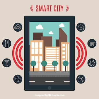 Smart city and device Free Vector