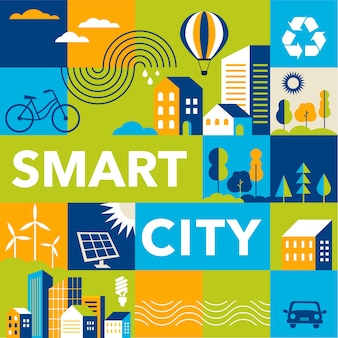 Smart city flat style background