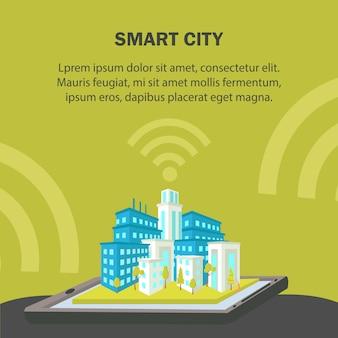 Smart city flat vector banner template.