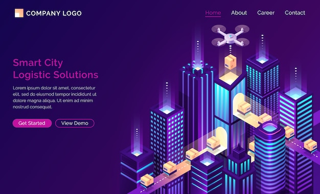 Smart city future logistic isometric landing page