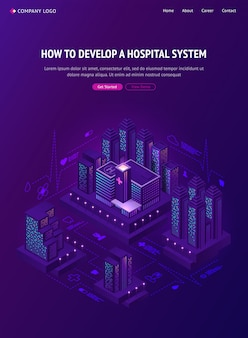 Smart city hospital system isometric web banner