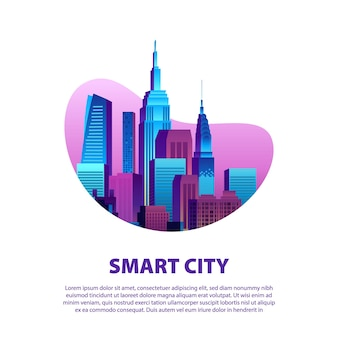 Smart city illustration with modern pop colorful skyscrapers in gradient color