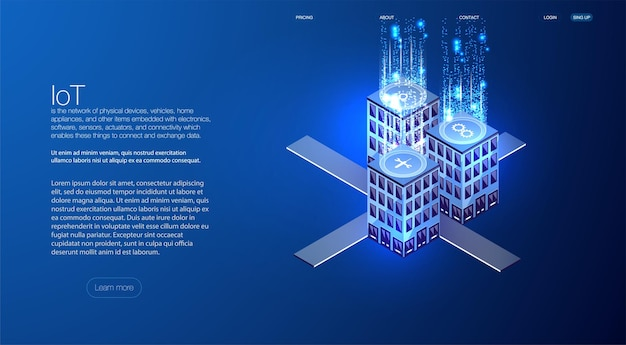 Smart city or intelligent building isometric concept. building automation with computer networking illustration. engineering systems, safety abstract 3d city environment with new technologies