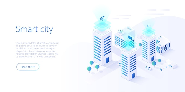 Smart city or intelligent building isometric concept