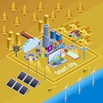 Smart city internet infrastructure isometric poster