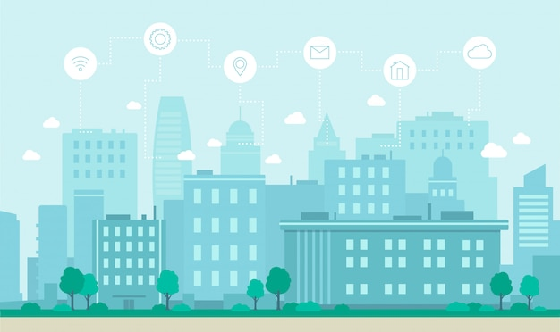 Smart city internet technology concept flat vector illustration.