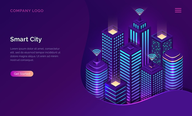 Smart city, internet of things or wireless network isometric