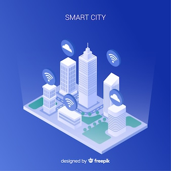 Smart city isometric background