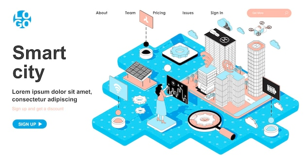 Smart city isometric concept in 3d design for landing page