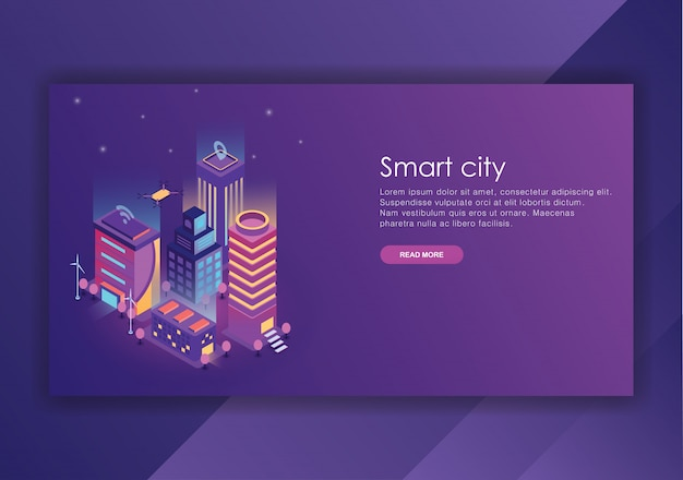 Smart city isometric design  template