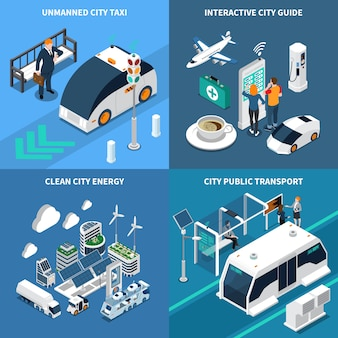 Smart city isometric illustration set with clean city symbols isolated illustration
